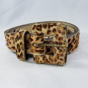 Express Leather Leopard Print Belt